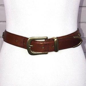 Vintage Brown Leather Belt W/ Gold Animals sz s